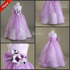 Wholesale CUSTOM Made Hot Cute Floor Length A-line Purple Flower Girl Dresses Thanksgiving Girls Pageant Dress, Free shipping, $62.72-72.8/Piece | DHgate