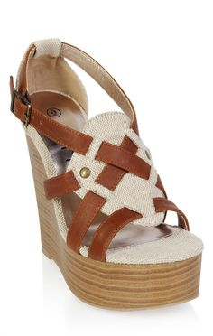 Deb Shops open toe canvas wood wedge