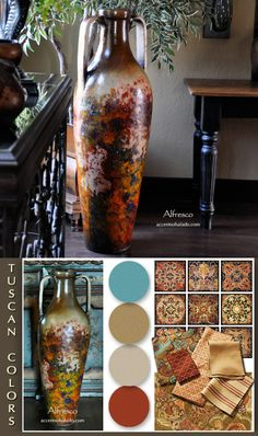 A Tuscan floor vase can be a great color inspiration piece for decorating in Tuscan style. See the Colorato Tall Floor Vase in cream, orange and brown at Accents of Salado.. you'll be inspired.