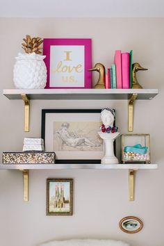 Cool Ikea Lack Shelves Ideas Hacks – Home Decor Ideas Gold Bookshelf, Gold Shelves, Bedroom Bookshelf, Floating Bookshelves, Glass Shelves, Diy Home Decor Rustic, Cheap Home Decor, Gold Shelf Brackets, Ikea Lack Shelves