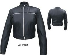 Allstate Lambskin Leather Snap Waist Womens Motorcycle Scooter Jacket comes in solid black is made of genuine lambskin leather in a classic style with having side snaps, silver hardware, and a Euro collar for the most stylish and fitted look.