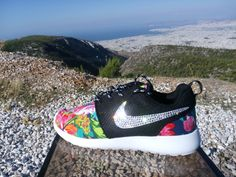 nike roshe run women athletic sneakers dark blue color sport shoes custom with fabric floral and blinged with swarovski crystals by jwlstore on Etsy