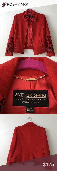 St. John red wool jacket Stunning $1100 St.John red jacket with black embroidery. Size 2. 70% wool 15% angora and 15% cashmere. Like new. No 🚫trades St. John Jackets & Coats Blazers