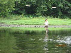 Fly fishing at Lake Tanycomo Missouri.