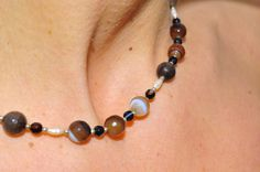 Botswana agate mounted with 925 silver pearls agata botswana montate con argento 925 perle di Oxidex su Etsy