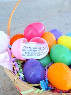 Easter Egg Hunt - Uses scriptures from the gospels as clues to find their Easter treats!!! A cool idea!