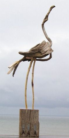 Driftwood Flamingo • Jaye Ouellette. Love this as love driftwood and the shape is gorgeous