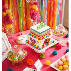 Elmo Sesame Street first birthday dessert table perfect theme for Korean first birthday theme dol janchi