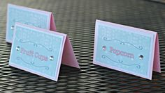 Girl Winter / Ice Skating Birthday Food Tents.  Set of 6.  Pink, blue, white party decoration.  Any Age. by CharmingTouchParties on Etsy