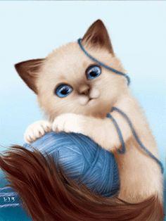 Анимация Сиамский котенок играет с голубым клубком