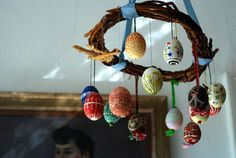 And this is my Berlin: hand-painted Easter eggs hanging in a beloved living room with sunlight falling through the window just so.