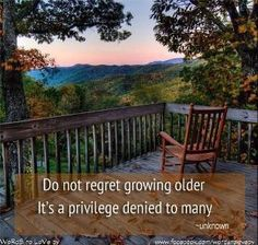 And I feel the healthy challenge in this quote to grow old with grace.