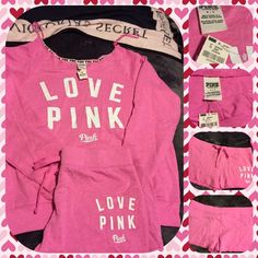 "BNWT Pink Victoria's Secret PromoSweatshirt/Shorts BNWT Pink Victoria's Secret pink colored crew neck sweatshirt with white lettering ""LOVE PINK"" on the front.  No pockets, long sleeves.  Shorts are pink colored cut off, no pockets.  White letters that say LOVE PINK on the left leg.  Both size small.  No trades.  No other websites.  Use offer option for reduced pricing. PINK Victoria's Secret Tops Sweatshirts & Hoodies"