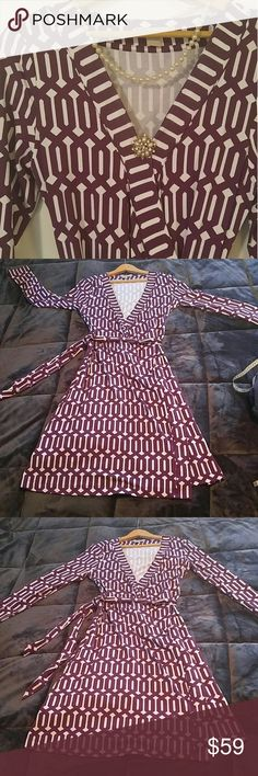 """🆕Wrap dress by Banana Republic Fabulous long sleeve midi """"Gemma"""" dress!  95% viscose 5% spandex measures 38"""" shoulder to hem and approx 17.5"""" pit to pit laying flat. EUC - only worn twice.  Machine wash cold lay flat.  Fantastic silhouette! Banana Republic Dresses Midi"""
