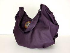 SALE - 10%off Handmade Canvas Bag/ Shoulder bag/ Hobo bag/ Tote/ Messenger/ Purse/ Everyday bag/ Zipper Closure- Dark Purple - Vanessa