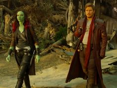 'Gamora' and 'Peter Quill' in 'Guardians Of The Galaxy: Vol. 2' (2017)