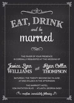 Wedding Invitation Chalkboard Wedding by InvitationBlvd on Etsy