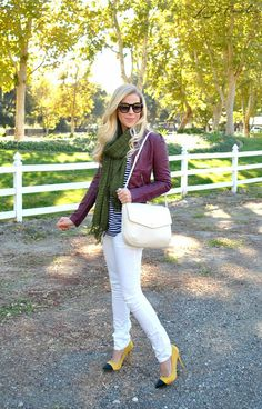 way to wear white denim in winter. paired with leather jacket, scarf, & pointed cap-toe heels