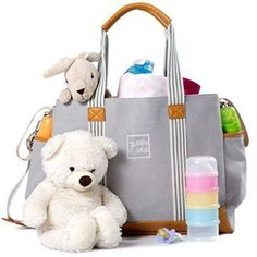 Diaper Bag for Girls and Boys - Large Capacity Baby Bag - Nappy Bag - Diaper Tote - Plus Changing Pad, Stroller Straps and 10 Pockets - Best Baby Shower Gift by (Grey) Diaper Bags Boy Diaper Bags, Best Diaper Bag, Large Diaper Bags, Diaper Bag Backpack, Buy Backpack, Fashionable Diaper Bags, Best Baby Shower Gifts, Grey, Changing Pad