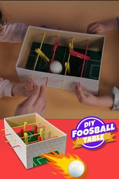 DIY Foosball Table - A Fun and Simple DIY Toy for Kids : Make your very own Foosball table for your kids to play with. Simple to create and tons to fun to play with. This DIY toy is sure to beat your children's boredom blues! Diy Crafts For Kids, Projects For Kids, Easy Crafts, Easy Diy, Simple Diy, Kids Diy, Diy Toys For Toddlers, Soccer Crafts, Kids Sports Crafts