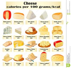 different cheese | Illustration of a set of different kinds of cheese with calories.