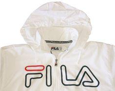c35a55b9617 Vintage 90s FILA Nylon Windbreaker Jacket   Big Logo Old School Streetwear  with Hidden Hood   Hip Hop Rap Style   Size M