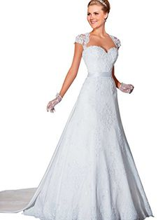 VERNASSA Womens Aline Detachable Sleeves Lace Wedding Dresses Bridal Gown *** Want to know more, click on the image.