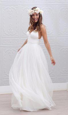 Bohemian Chiffon Wedding Dress with Pleated Waistline