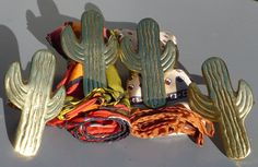 4 BRASS CACTUS Serviette Holders tall 1 diameter rings plus a free scarf. All Things, Cactus, Buy And Sell, Brass, Dining, Rings, Handmade, Free, Stuff To Buy