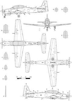 Embraer EMB 314 Super Tucano - Blueprint Poster