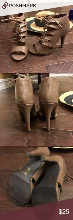 """Taupe Lace-up High Heel Booties Worn once with minimal to no flaws. A staple for this fall season! Vegan leather, 4.25"""" stiletto heel. Bought on Lulu's with brand called My Delicious. Lulu's Shoes Ankle Boots & Booties"""