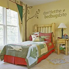 Outdoorsy Hideaway - Frogs, bugs, and earthy colors combine in this kids bedroom idea for boys who love nature and the great outdoors!