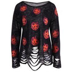 Pumpkin Ripped Halloween Knitwear