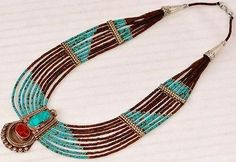 Stunning Silver Plated Tibetan Turquoise Coral Topaz Handmade Nepalese Necklace | eBay