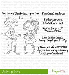 SugarPea Designs - Sugary Sweet and Whimsical Stamp Sets, SugarCut Thin Steel Dies, exclusive Paper Pads, and Supplies. Halloween Cards, Halloween Diy, Undying Love, Card Sentiments, Cute Cards, Clear Stamps, Coloring Pages, Card Making, Embroidery