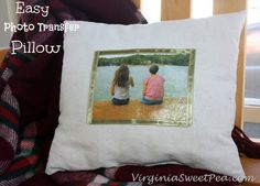 Easy Photo Transfer Pillow Using Mod Podge Photo Transfer Medium by virgininasweetpea.com #ModPodgePhoto