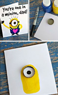 You're one in a minion easy fathers day cards for kids to ma Diy Father's Day Gifts Easy, Father's Day Diy, Diy Gifts, Fathers Day Art, Fathers Day Crafts, Fathers Dat, Minions, Crafts For Teens, Gifts For Kids