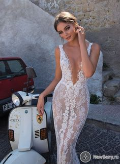 Vespa Girl, Scooter Girl, Bridal Lace, Bridal Gowns, Berta Bridal, Plus Size Wedding Gowns, Wedding Dresses, Muse By Berta, Backless Wedding