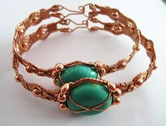 TUTORIAL: Turquoise and Copper Wire Wrapped Bracelet PDF ePattern