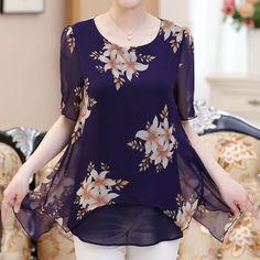 2017 New Summer Women Blouse Loose Shirt O-Neck Silk Chiffon Blouse Female Half Sleeve Plus Size 4XL Shirts Long Blusa Feminina
