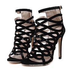 Solid Color Hollow Out Stiletto Heel Sandals ($30) ❤ liked on Polyvore featuring shoes, sandals, heels, heeled sandals, high heel stilettos, stiletto heel sandals, stiletto shoes and stiletto sandals