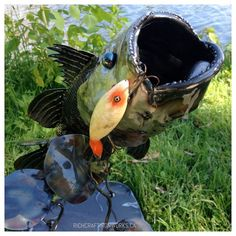 The art of fishing is always employed when seeking to hook the great, large mouth bass. To commemorate that fantastic catch, this sculpture