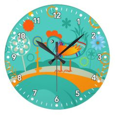 Rooster Chick - whimsical cute Kitchen wall Clock <3