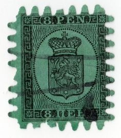 Finland 1866-67 Sc 7 A3 8p Black on Green Roulette III Used Hinged See Scan Nice