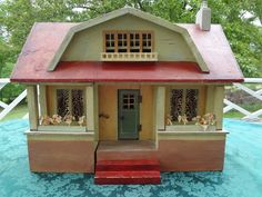 Gottschalk Red Roof Doll House with Three Rooms.. .....Rick Maccione-Dollhouse Builder www.dollhousemansions.com