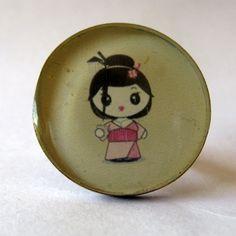 Resin japanese geisha ring