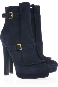 Alexander McQueen navy blue suede boots