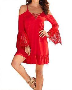 Oferta: 8.19€. Comprar Ofertas de Mujeres Mini Vestido Encaje Trompeta Mangas Larga Casual Slim Falda Para Fiesta Encaje Rojo L barato. ¡Mira las ofertas!