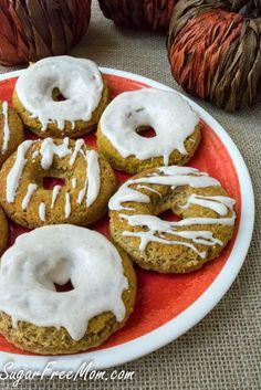 Low Carb Sugar Free Grain Free Pumpkin Donuts with a sugar free pumpkin glaze!