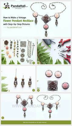 #diy How to Make a Vintage Flower Pendant Necklace with Step-by-Step Pictures